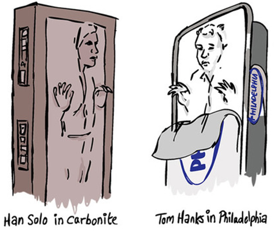 Han Solo in Carbonite vs. Tom Hanks in Philadelphia